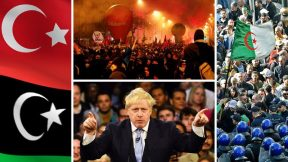 Tripoli campaign, Johnson's victory, pension protests in France